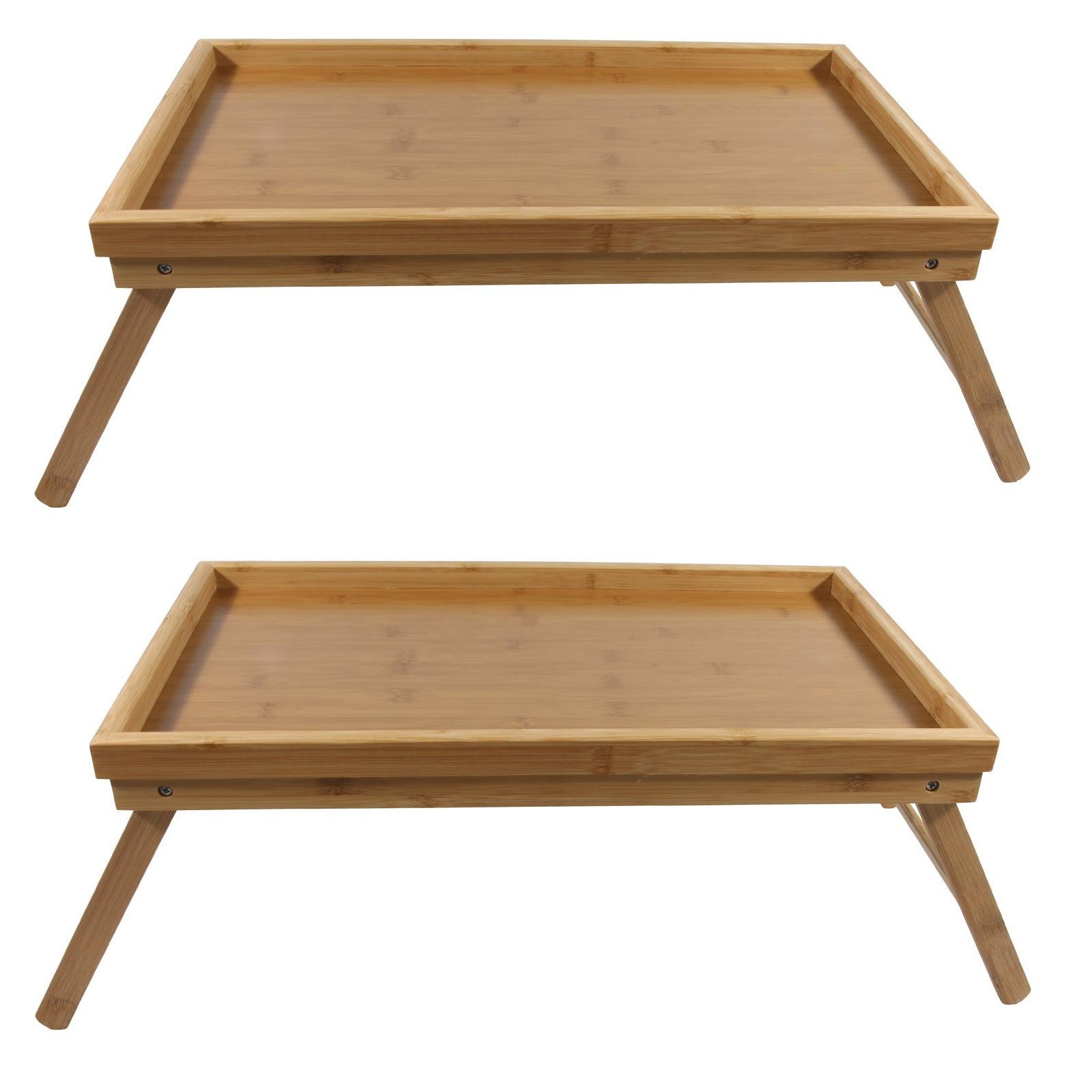 2x bamboe ontbijt op bed dienbladen tafeltjes 50 x 30 cm