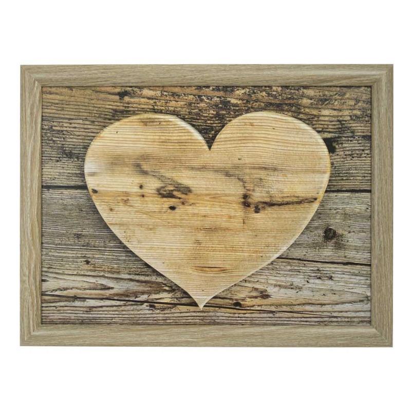 Moederdag ontbijt op bed schootkussen laptray hart houtprint 43 x 33 cm
