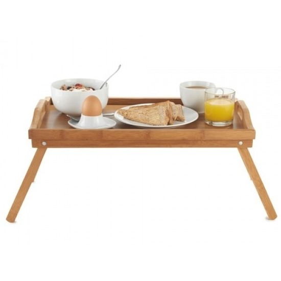Ontbijt op bed dienblad tafeltje hout 50 x 30 cm