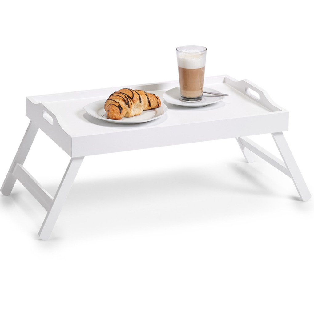 Valentijn ontbijt op bed dienblad serveerblad wit op poten mdf hout 56 x 36 cm